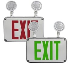 Compact Wet Location Exit Sign with Emergency Lights Series: EECL