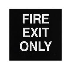 ADA Braille Fire Exit Only Sign Engraved Applique Grade 2