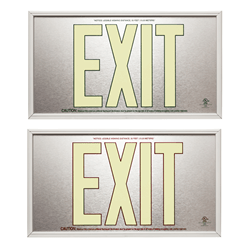 UL924 Brushed Photoluminescent Exit Sign 50ft Rated: Series: EESP